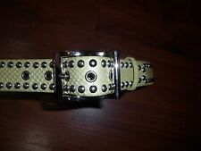 DKNY Belt Genuine Snakeskin Lime Green Silver Studded S 28-32 NOWT Leather lined