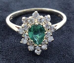 Vintage 14k Yellow Gold Emerald Diamond Cocktail Ring