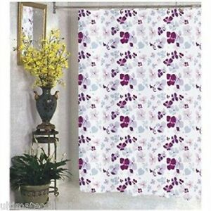 Joanne Fabric Shower Curtain Purple Violet Floral Print Lilac Pink Maroon Flower
