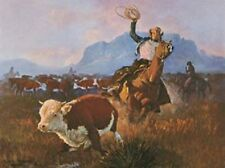 ROUNDUP TIME ART PRINT BY WESTERN ARTIST GEORGE PHIPPEN cowboy cow horse poster