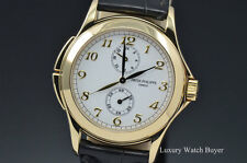 Mens Patek Philippe Calatrava Travel Dual Time 18K Yellow Gold Manual Wind 5134J