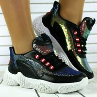 WOMENS LADIES BLACK SEQUIN LACE UP CHUNKY SOLE SNEAKERS TRAINERS SHOES SIZES 3-8