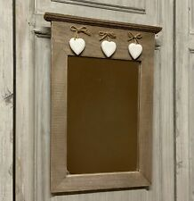 Rustic Wood Mirror with Hanging Heart Detail Wall Vintage Bathroom Hall Bedroom
