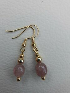 Strawberry Quartz Earrings. Gold plated earrings. Free Gift Pouch.  NEW