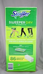 1 Box Swiffer Sweeper DRY Sweeping Clothes Refills Unscented (86 ct.) SEALED