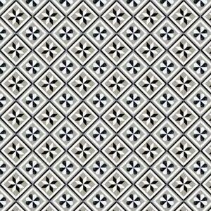 1: 12th Schwarz Und Grau Geometrische Design Fliese Blatt Mit Grau Mörtel