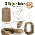 3 ply Jute Natural Brown Shabby Rustic Twine String Burlap Shank Craft 10m -100M <br/> Unbeatable Prices ✔Strong Hessian Soft Jute Sisal Cord