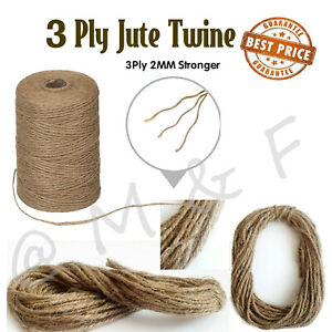 3 ply Jute Natural Brown Shabby Rustic Twine String Burlap Shank Craft 10m -100M