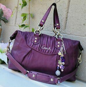 Coach 19452 gathered Ashley purple plum satchel Purse handbag shoulder bag