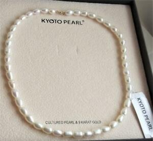 """KYOTO WHITE CFW PEARL & 9 CARAT GOLD CLASP NECKLACE 41cm /18"""" NEW WITH TAG BOXED"""
