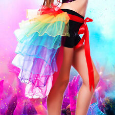 Rainbow Neon Tutu Skirt Rave Party Dance Half Bustle Burlesque Sexy Clubwear