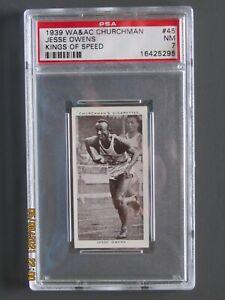 1939 W.A. & A.C. CHURCHMAN KINGS OF SPEED #45 Jesse Owens GRADED PSA 7 NM RC