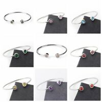 Fashion Stainless Steel Bracelet Cuff Bangle Open Crystal Rhinestone Accessory