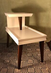 Mid Century Modern Two Tier Step Back End Table Solid Oak Tapered Legs