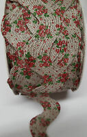 Ric Rac Vintage Red Rose Print Linen Zig Zag Trimming Extra Wide 41mm