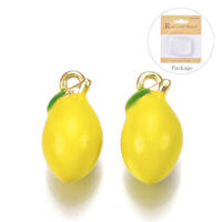 10pc Gold Brass Enamel Lemon Charms Mini Cute Fruit Pendants DIY Crafting 13x7mm