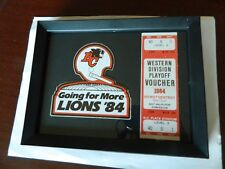 1984 BC LIONS Framed PLAYOFF Ticket voucher & sticker 'Going for More in 84'