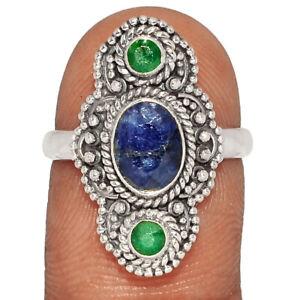 Bali Design - Sapphire & Emerald 925 Silver Ring s.7 BR45042
