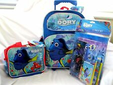 "Disney Finding Dory 16"" Rolling Backpack,Dory Lunchbox and 11 pc Stationary Set"