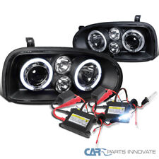 For VW 93-98 Golf 95-98 Cabrio Black Halo Projector Headlights+H1 6000K HID Kit