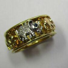 Italienischer Elefanten Ring Gold 750 gelbweißrot Brillanten Saphire 582-2784/3