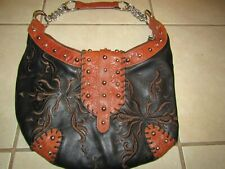 Ladies CHI Black Leather Sack Purse with Brown Embroidery Embellishment