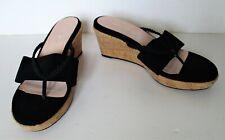 Taryn Rose Shoes Thong Sandals 9M Women black uppers cork wedge heel