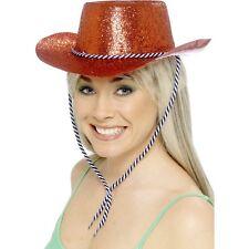 Cowboy Glitter Cappello Fancy Dress Hen Night Red Americana Texas COWGIRL WESTERN FUN
