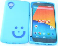 New Designer Smiley TPU Silicone Back Case For LG Google Nexus 5 D820 BLUE