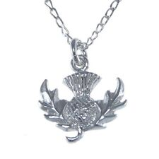 Scottish Necklace - Sterling Silver Thistle Pendant with 45.7cm Chain & Box