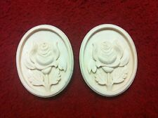 1 x pair of ornate oval design  wooden flower mouldings