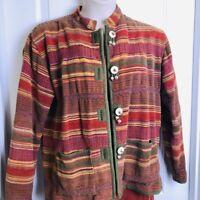 Vintage Flashback Striped Tapestry Jacket Sz M/L Southwestern Aztec Heavy Cotton