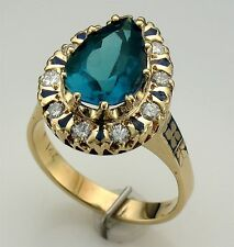 Vintage Antique 14K Yellow Gold Pear Cut Topaz, Diamond and Blue Enamel Ring