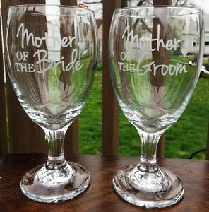 Etched Glass Mother of the Bride and Mother of the Groom Wine Glasses Mom Gifts