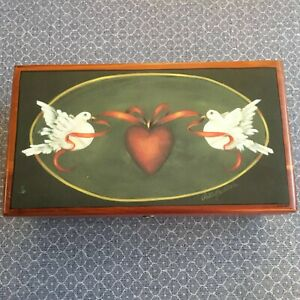 Miniature Lane Cedar Chest Turtledoves Wooden Jewelry Box w/Key by Patty Butters