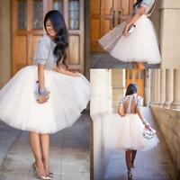 Women's Tutu Tulle A line Skirts Short Prom Party Knee Length Petticoat Dress