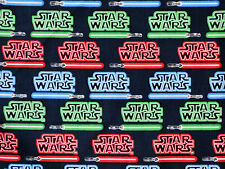 STAR WARS COMIC / MOVIE LIGHT SABER SWORDS FABRIC 100% QUILTING COTTON   YARDAGE