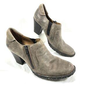 GUC Women's Born low cut Booties w/ heel Brown leather Sz 8