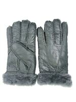 Women's Genuine Sheepskin Grey Warm Leather Shearling Fur Gloves