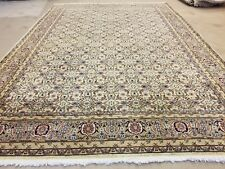 Exquisite Antique 1930-1940s Muted Ivory Colors Wool Pile Oushak Rug 7x10ft