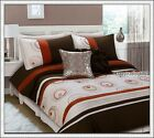 Chocolate Ruse Latte Pintuck 280TC Embroidery * 3pc QUEEN QUILT DOONA COVER SET
