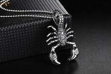 Mens Stainless Steel Scorpion King Pendant Bead Ball Link Chain Necklace #NE92