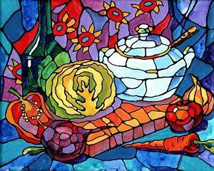 "Akimova: STILL LIFE, EVERYTHING FOR BORSCHT (1), acrylic, 8""x10"", food"