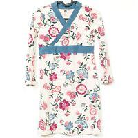 Tea Floral Dress 10 Girls Asian Blue Cream Long Sleeve Cross Front Cotton