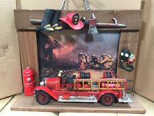 "Handmade Wooden Framed Fire Station Diorama with 11"" Metal Fire Engine"