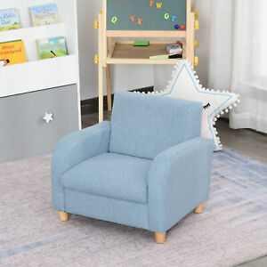 HOCMOM Linen Child Armchair Wood Frame w/ Padding Seat Low-Rise Bedroom Blue