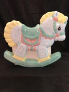 "Vintage Rocking Horse Planter Napco Nursery Baby Kitsch Kawaii Pastel 5"" T 6"" W"