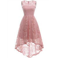 Women's Vintage Style Floral Lace Sleeveless Hi-Lo Cocktail Formal Swing Dress
