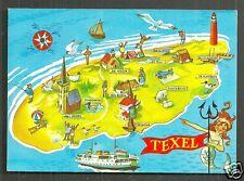 Map postcard Texel Mermaid Lighthouse Netherlands 1979