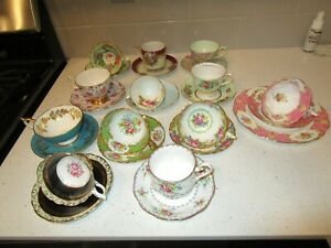 12 Vintage RARE Antique Bone China Tea Cups & Saucers Assorted Makers/Years